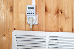 Electric con heater with timer power plug Stock Photography