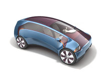 Electric concept car on solar battery. 3d rendering royalty free illustration