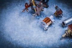 Electric condenser resistor transformer lamp-holder toggle on sc Stock Image