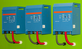 Electric Control Box. Blue electrical control panel on a green background Stock Photography