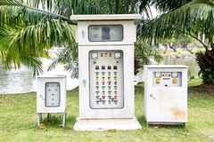 Electric control box in a park. Electriontrol box in a park background stock photos