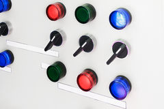 Electric control panel with switches Stock Photos