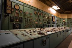Electric controller room in an old metallurgical firm Stock Photo