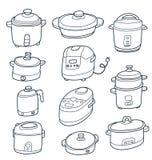 Electric cooker set. Illustration of sketchy doodle electric cooker set Royalty Free Stock Image