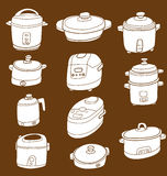 Electric cooker set. Illustration of sketchy doodle electric cooker set Royalty Free Stock Photography