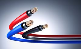 Electric copper cable 3D rendering stock illustration