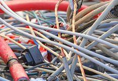 Electric copper cable and electric cables in a landfill Stock Image