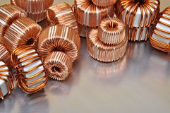 Electric copper coils Royalty Free Stock Images