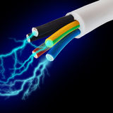 Electric cord with electricity Royalty Free Stock Photos