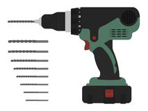 Electric cordless hand drill with bits. Green and red colors Clip art vector illustration isolated on white Stock Photo