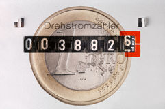 Electric counter with Euro coin Stock Photo