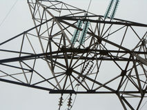Electric current. Power line electric current detail construction Stock Photography