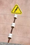 Electric danger sign. High-voltage wire Stock Photography