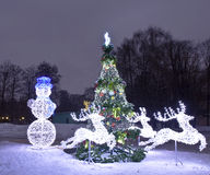 Electric decorations and Christmas tree, Moscow Royalty Free Stock Photos