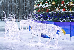 Electric deers on Christmas, Moscow Royalty Free Stock Photo
