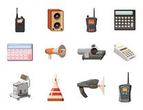 Electric device icon set, cartoon style. Electric device icon set. Cartoon set of electric device vector icons for web design isolated on white background Stock Photos
