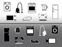 Electric devices. Home appliance design elements Stock Image