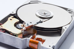 Electric devise. Close up of the inside of a hard disk Stock Photos