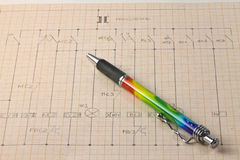 Electric diagram. On millimeters paper Stock Images