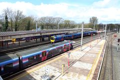 Electric and diesel multiple unit trains at Lancaster Royalty Free Stock Photo