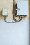 Electric distribution boxes on wall Royalty Free Stock Images