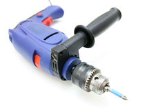 The electric drill. On white background with clipping path Royalty Free Stock Image