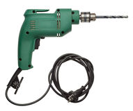 Electric drill. With cord and attached metal bit Stock Photography