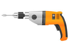 Electric drill and bit Royalty Free Stock Images