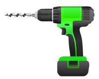 Electric drill and bit. On a white background Royalty Free Stock Photo