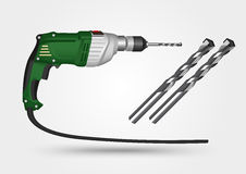Electric drill and drill bit Stock Image