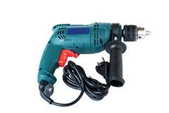 Electric drill on white Royalty Free Stock Images