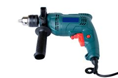 Electric drill on white background Stock Images