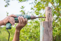 Electric drill in a man`s hands. Drilling wood on a natural background, blurred royalty free stock images