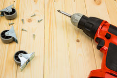 Electric drill with metal wheel Stock Image