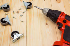 Electric drill with metal wheel Stock Photos