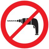 Electric drill prohibition sign Stock Image