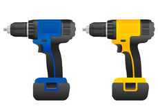 Electric drill set Royalty Free Stock Images