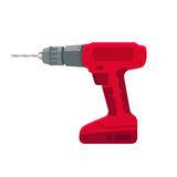 Electric drill stand-alone on the battery and bit repair elements, construction hand tool on a white background. Stock Image