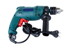 Electric drill on white background Stock Photography