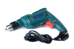 Electric drill on white Stock Images