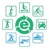 Electric eco drives icon set Royalty Free Illustration
