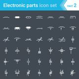 Electric and electronic icons, electric diagram symbols. Inductors, coils, capacitors and electric condensers. Complete vector set of electric and electronic Stock Photos