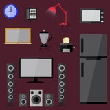 Electric electronics set  household equipment vector Stock Images