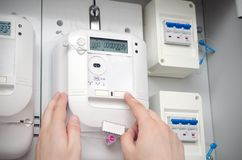 Electric energy meter. Electrical unit Royalty Free Stock Photos