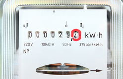 Electric energy meter old electromechanical type Royalty Free Stock Photo