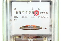 Electric energy meter old electromechanical type Royalty Free Stock Photography