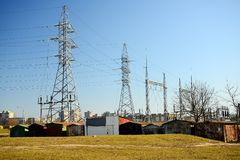 Electric energy plants in Vilnius city Justiniskes district stock images