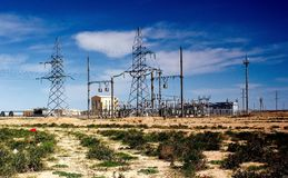 Electric energy. Is transmitted over the wire in the desert Royalty Free Stock Image