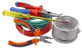 Electric equipment on white Stock Photo