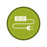 Electric extension cord cable and plug green circle Stock Photography